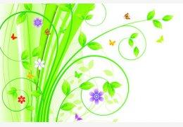 韩国绿色花纹矢量图